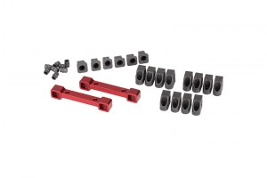 Mounts, suspension arms, aluminum (red-anodized) (front & rear): hinge pin retainers (12): inserts