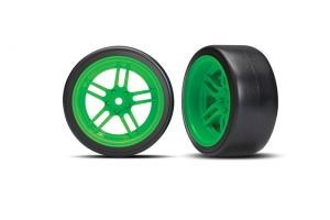 "Tires and wheels, assembled, glued (split-spoke green wheels, 1.9"" Drift tires) (rear)"