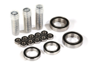 Ball bearing set, TRX-4® Traxx™, black rubber sealed, stainless (contains 5x11x4 (40), 20x32x7 (2), & 17x26x5 (2) bearings/ 5x11x.5mm PTFE-coated washers (40)) (for 1 pair of front or rear tracks)